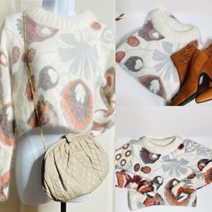Autumn Print Cropped Angora Sweater